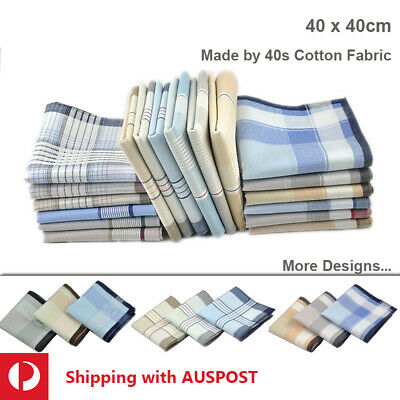 Men Premium 40tc Cotton Large Handkerchief Soft Hanky Pocket 40cm Bulk Sale