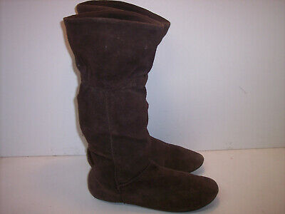 ce33fbc7178 NINE WEST SUEDE Slouch Boho Foldover Boots Buckle Wide Top Wedge ...