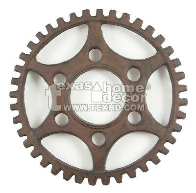Round Dented Gear Trivet Cast Iron Rustic Antique Style Plaque Hot Pot Holder