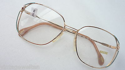 Zeiss Germany Ladies XL Large Glasses Metal Vintage New Gold Green SIZE M