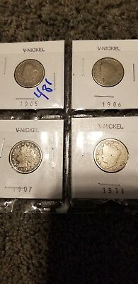 "Lot Of 4 Coins 1905 1906 1907 1911 Liberty Head ""v"" Nickel Ag Circulated"