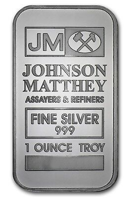 JOHNSON MATTHEY Fine Silver .999 Sealed 1 Ounce Troy Bar