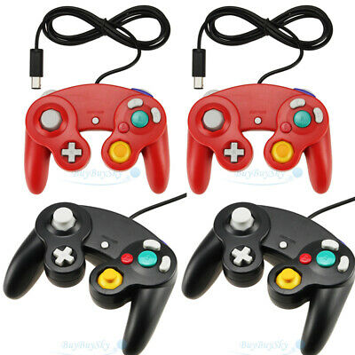 LOT Wired Shock Video Game Controller Pad for Nintendo GameCube GC Wii Black/Red