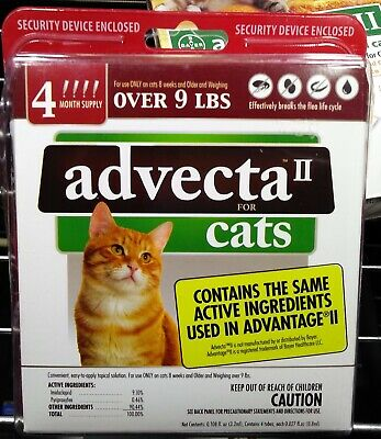 Advecta II Flea Treatment for Cats Over 9 lbs 4 Month Supply *NEW & SEALED*