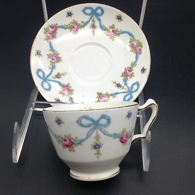 Crown Staffordshire Raised Blue Bow Ribbon Flower Roses Cup & Saucer Teacup