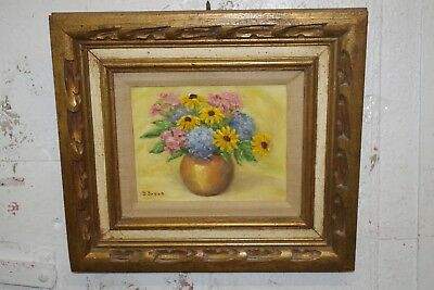Flowers In Vase Floral Still Life Small Painting Signed D Bryan Heavy Frame Art