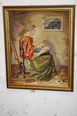 Vintage Framed Needlepoint & Petit Point Portrait Lady Sitting