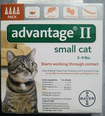 Genuine Advantage II 4 Doses FOR SMALL CAT 5-9 POUNDS EPA Approved USA Version