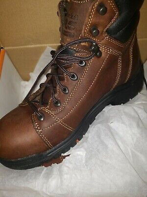 13364100ec2 TIMBERLAND PRO 6 In TiTAN Lace to Toe DARK BROWN Boots size 10.5W ...