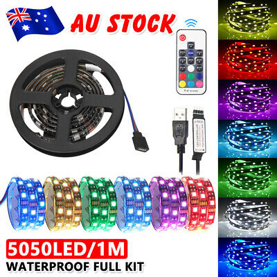 1M USB LED RGB Strip Lights Lighting Remote Control TV Night Background 7 Colour