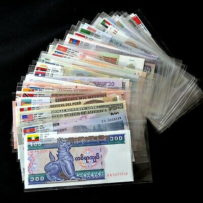 100 PCS Different Mix World Banknotes 50 Countries Genuine Currency Notes UNC
