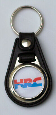 HRC Black Leather Style Keyring with HRC / Honda Racing Corporation Logo (1044)