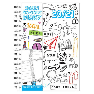 A5 2019-20 Academic Diary Week To View Wiro Doodle Sketch Book Mid Year Planner