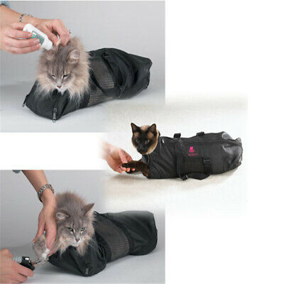 Pet Cat Claw Nail No Scratches Trim Mesh Cat Grooming Bathing Restraint Bag Z