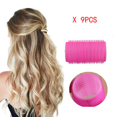 Large Self Grip Hair Rollers Curling Curls Waves Cling Stick Styling 9PCS