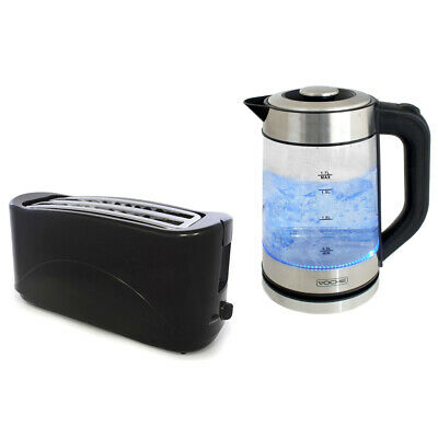 Voche 1.7L Fast Boil 2200W Blue Led Electric Kettle And 4 Slice Toaster Set