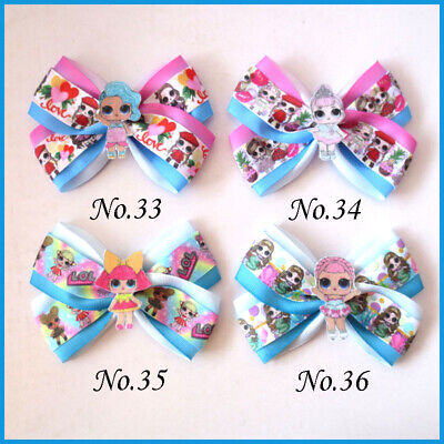 "50 BLESSING Girl 4.5/"" Two Tone Angel Hair Bow Clip Rainbow Unicorn Pony Hairbow"