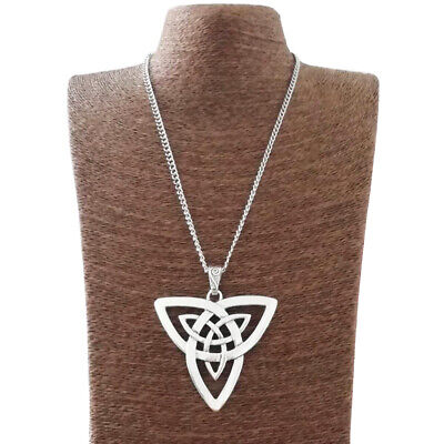 Large Abstract Celtic Knot Trinity Triquetra Pendant on Long Curb Chain Necklace
