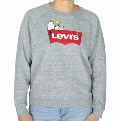 new product 16ecd bb29d LEVIS RELAXED GRAPHIC Crew Peanuts Housemark Damen Pullover Sweatshirt Grau