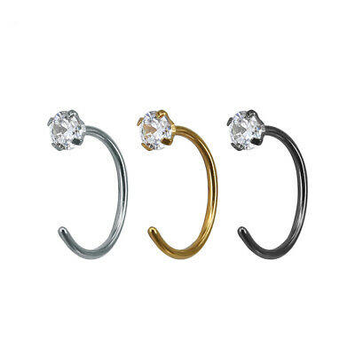 Surgical Steel Open Nose Lip Hoop CZ Ring Small Thin Piercing 3 Colour 2 Size UK
