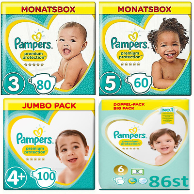 Pampers Premium Protection Baby Nappies Monthly saving Size 3 5 5+Plus