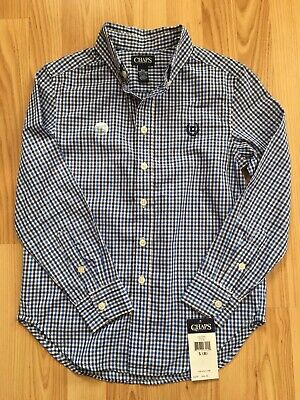 CHAPS Boys Plaid Button Up Dress Shirt Easter S 8 Easy Care Blue Gingham NWT