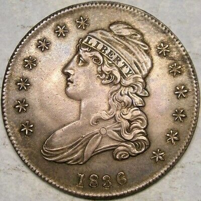 1836 Capped Bust Letter Edge Silver Half Dollar Spectacular Specimen Smooth Tone