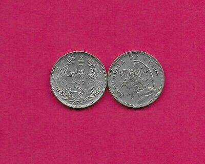 Chile Rep 5 Centavos 1937 Vf-Xf Defiant Condor On Rock Left,without O. Roty At B