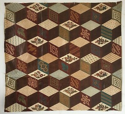 """Rare Important 19th C. French """"Cheater"""" Quilt Cotton Chintz Fabric (2588)"""