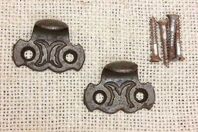 2 Window Sash lifts small drawer pulls cast iron old vintage finish butterfly