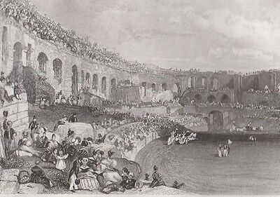 1845 Two Antique Engravings - FRANCE - Old Bridge, Lyons - Amphitheatre at Nimes