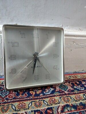 Vintage Retro 80's Quartz Silver Square Wall Clock Home Decor