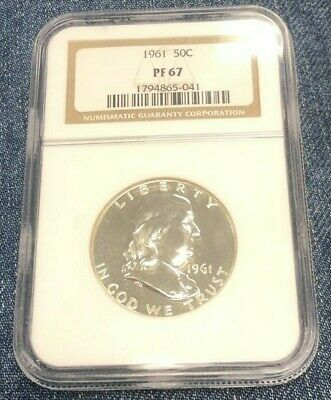 1961 50c Silver Proof Franklin Half Dollar NGC PF 67