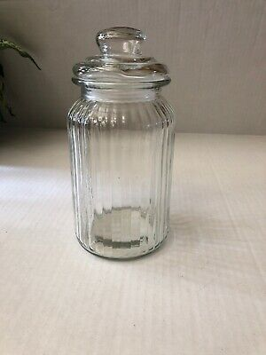 Vintage Clear Ribbed Glass Multi Purpose Lidded Apothecary Jar 9 In.