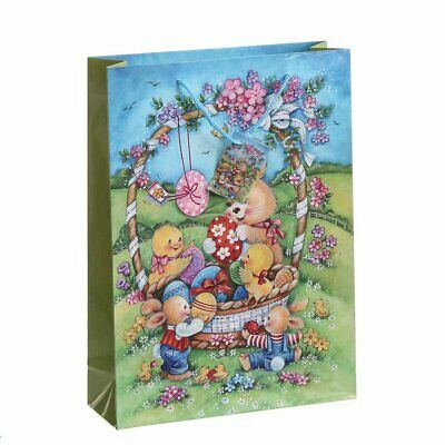 Gift Bags, Paper Bags, Carrier Bags, 10 Piece, Easter Osterszene in Basket