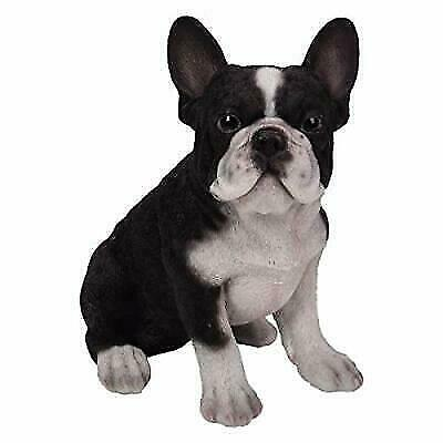Pacific Giftware PT Realistic Look Statue Black White French Bulldog Puppy Dog