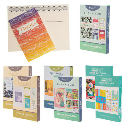 10pk Paper Craft Assorted Greeting Cards With Envelopes Bulk Set Every Occasion