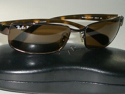 9c7e041605 RAY BAN RB3364 014 57 59  17 BROWN POLARIZED TORT RECTANGULARS SUNGLASSES w