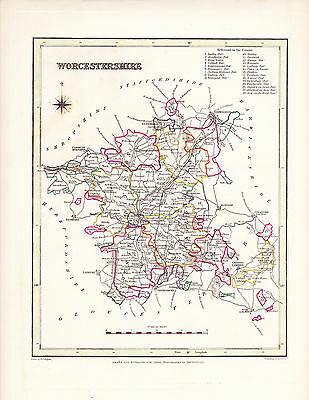 1844 Antique Map Worcestershire England Lewis Topographical