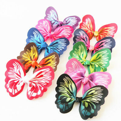 10PCS Puppy Dog Hair Bows Bright Butterfly Dog Bows Dog Accessories Pet Supplies
