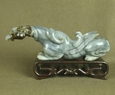 "Large 7.1"" With Carved Animal Old Antiques Jade Statue Mythical Beast Bird"