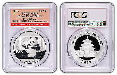 2017 10 Yuan Silver China Panda PCGS MS69 First Strike Red Flag Label