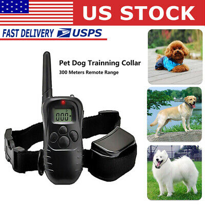 Pet Dog Training Collar 300 Yard 100LV Shock Vibra With LCD Remote Rechargeable