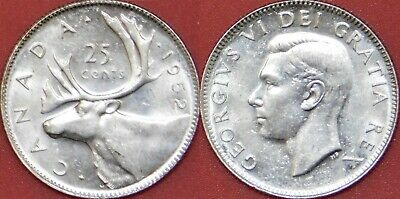 Brilliant Uncirculated 1952 Canada Low Relief Silver 25 Cents