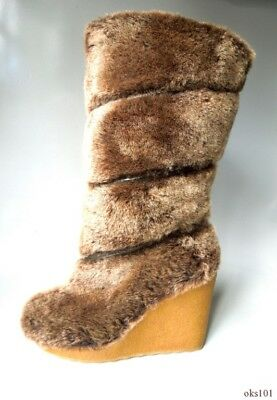 bbe54eab72d new  395 TORY BURCH  Kiki  brown REAL SHEARLING FUR tall wedge heel BOOTS 7