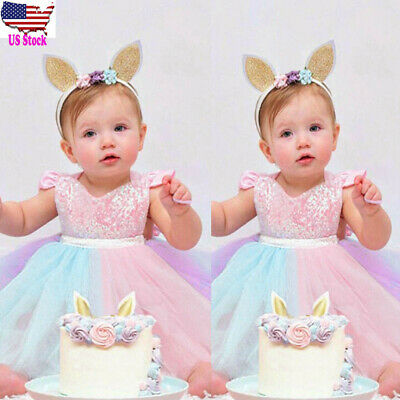 US Toddler Kids Baby Girl Rainbow Sequins Princess Romper Sleeveless Tutu Dress