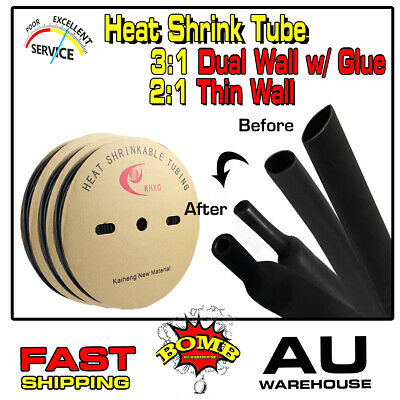 Black Adhesive Heat Shrink Tubing 3:1 Dual Wall & 2:1 Wire Sleeving Wrap Tube