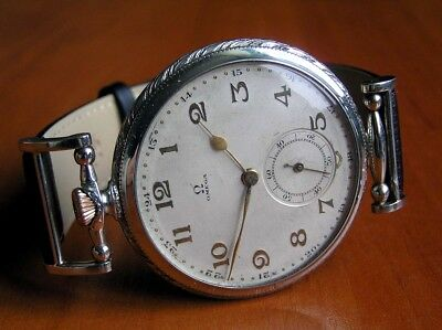 Omega Swiss Original Art Deco 1930 Vintage Watch Engraved Nice Gift Metal Dial