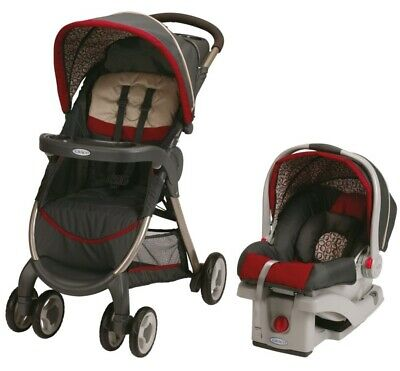 Graco Baby FastAction Fold Travel System Stroller w/ Infant Car Seat Finley NEW