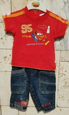 Completo Bambino Jeans Disney Originale The Cars 6-9 Mesi Mezza Manica Estate